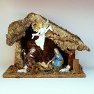 Vintage Nativity tabletop stable with figures Italy Jesus Mary Joseph lambs angel wood cork bark