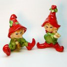 2 vtg pixie elf Christmas figurines made in Japan pottery ceramic