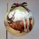 vintage deer ornament Christmas rustic round ball