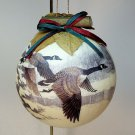 vintage Canada geese ornament Christmas rustic round ball