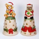 2 vintage bells Christmas bisque porcelain kitten teddy bear