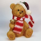 vtg Christmas bear figurine with bell hat and scarf