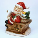 vtg Santa figurine bisque porcelain painted Taiwan sleigh and toys