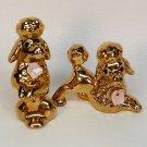 2 vintage poodles gold glaze figurines porcelain made in Japan