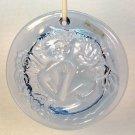 pressed glass suncatcher lovers kissing SAG Inc 1996 light blue
