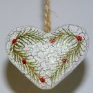Country heart Christmas ornament crackle finish glitter pine berries handmade