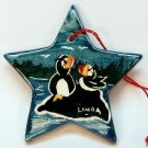 Alaska puffin Christmas ornament ceramic star Linda Mugs and Jugs Anchor Pt hand painted