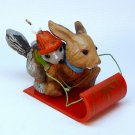 vtg Hallmark Downhill Run ornament 1979 QX1459 rabbit squirrel sled Christmas