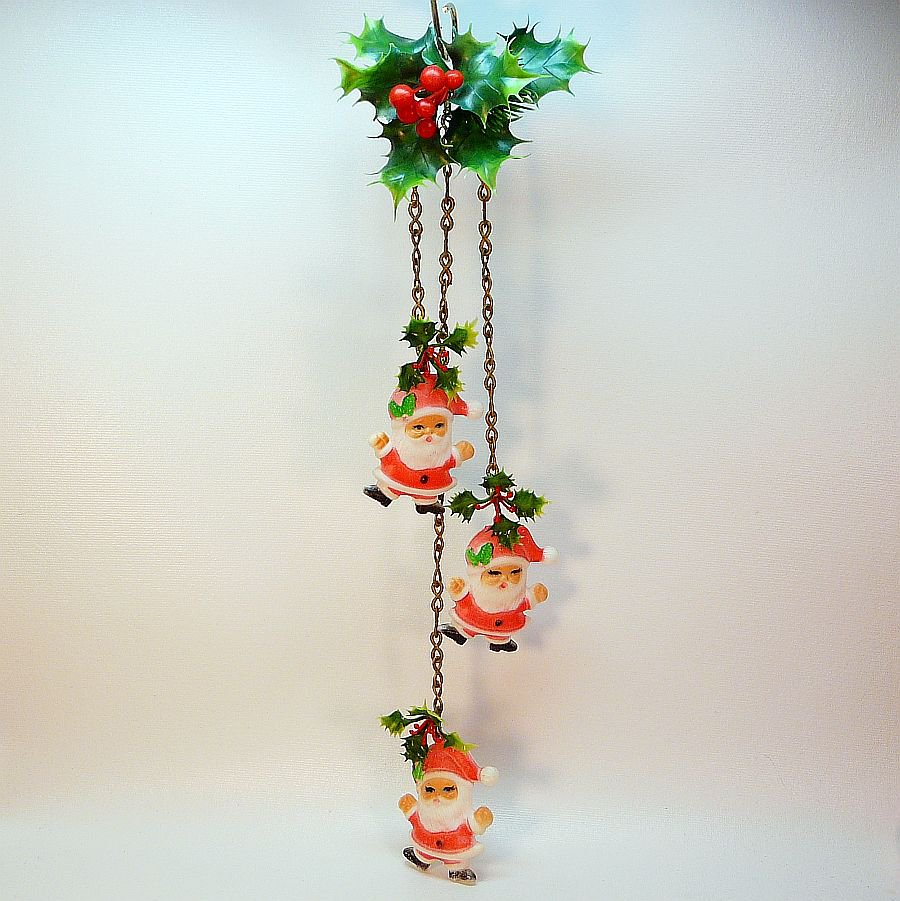 Vintage Santa Decoration Chains Christmas Holly Berry Hong