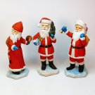 3 vtg Santa figurines bisque porcelain Taiwan Christmas