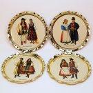 4 vtg Polish costumes coasters tin souvenir Bydgoszcz
