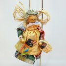 vtg country angel ornament wood fabric handmade
