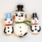 3 vtg snowmen top hats ornaments flocked styrofoam snow Christmas snowman