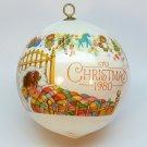 vtg Hallmark 1980 Granddaughter Christmas ornament satin sleeved ball QX2021