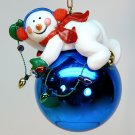 vtg snowman ornament Christmas holding light string