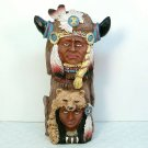 Vtg Old West Visions Limited Edition totem figurine buffalo Indian hand painted