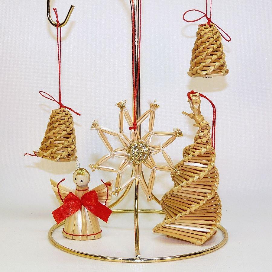 5 vintage Swedish straw ornaments angel tree bells star ...