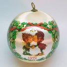 vtg elves kissing ornament Christmas WWA 1979 satin ball mistletoe