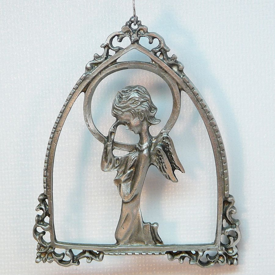 Praying angel pewter ornament christmas