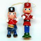 2 vtg soldier and drummer boy ornaments wooden Christmas Taiwan