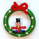 vtg wreath with toy soldier ornament wooden Christmas Taiwan