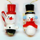 2 vtg snowman ornaments wooden Christmas Taiwan top hats