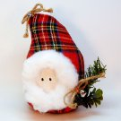Country Santa head figurine red plaid