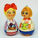 2 vtg miniature Ukrainian boy girl ornaments wooden Christmas signed Asinex