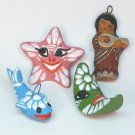 4 vtg Mexico clay ornaments folk art moon star fish musician hand painted