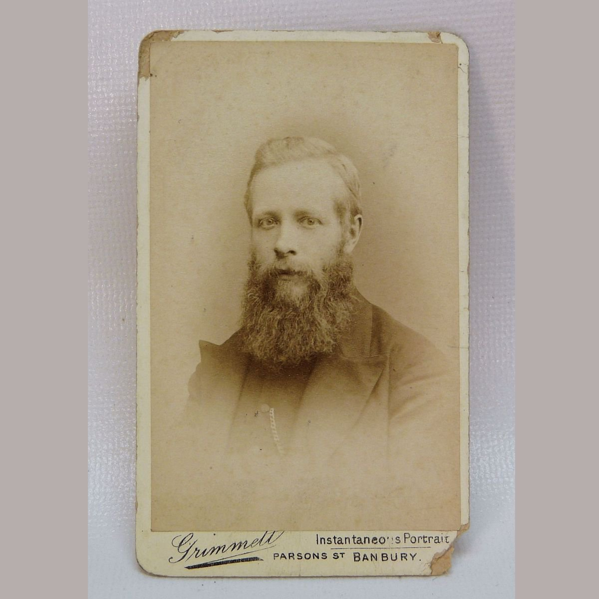 Antique CDV portrait of a young man with beard by Grimmett Art Photographer England
