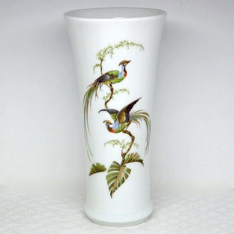 Vintage Flared Porcelain Vase made by Kaiser West Germany signed Sudsee Ho Ho fantasy birds