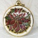 Vintage Hallmark Miniature Cloisonne Poinsettia 1990 Christmas Ornament Precious Edition