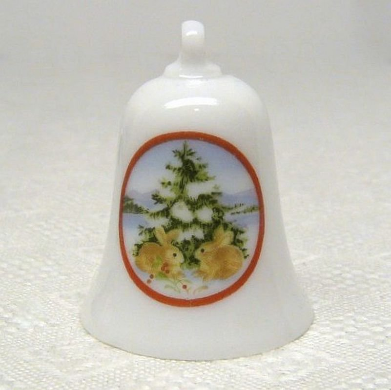 Vtg 1990 Thimble Bell 1 Hallmark Miniature Keepsake Christmas Ornament Collector's Series bunnies