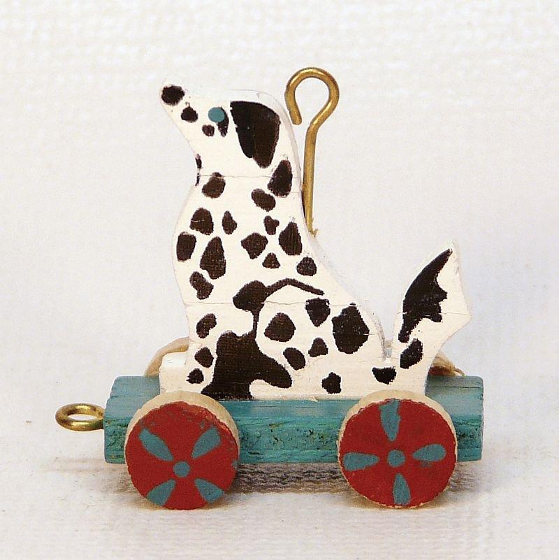 Vintage Hallmark Miniature Puppy Cart dalmatian Christmas Ornament 1989 QXM5715