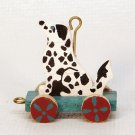 Vintage Hallmark Miniature Puppy Cart dalmation Christmas Ornament 1989 QXM5715