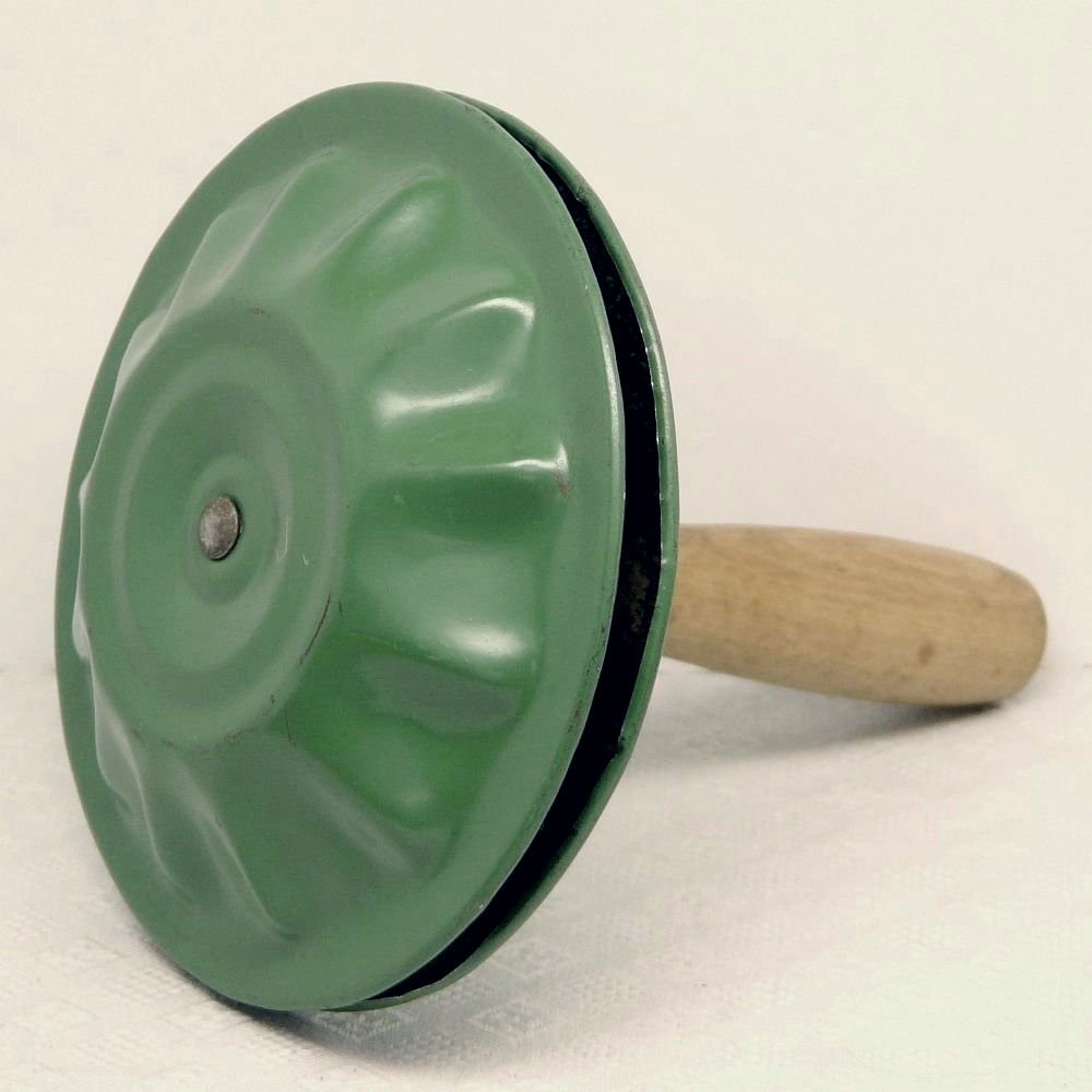 Tin Noisemaker Vintage Double Round Wooden Handle Green