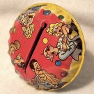 Tin Noisemaker Round Wooden Handle Vintage People Dancing