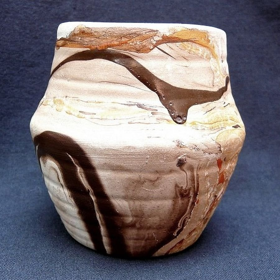 vintage Nemadji Vase Pottery Small USA  brown orange swirl Indian Head stamp on base