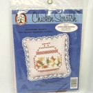 Colortex Embroidery Kit Pin Cushion or Sachet small on Pink Gingham with Lace Border
