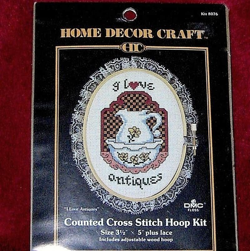 Counted Cross Stitch Hoop Kit I Love Antiques by Paragon featuring antique pitcher and basin