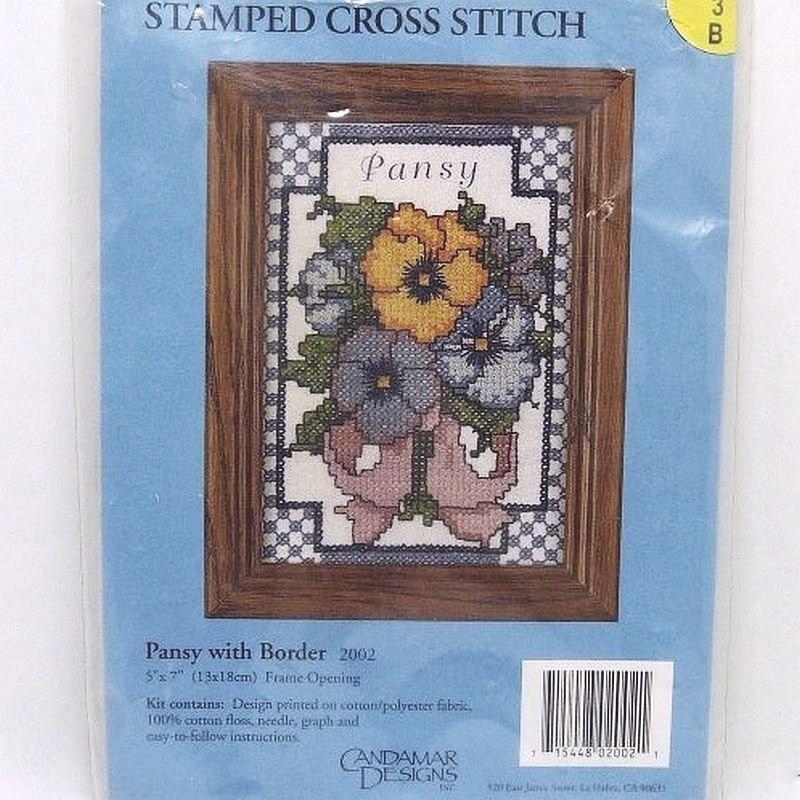 Candamar Designs Stamped Cross Stitch Picture Kit Pansy with Border