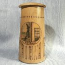 Vintage Piestany Spa Decorative Lidded Wooden Stein Cured Man image Slovakia souvenir