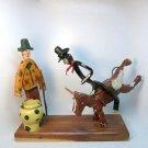 Folk Art sculpture mixed materials cowboy rodeo clown bull rider artisan made one of a kind