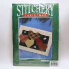 vintage Bernat Christmas Stitchery Kit Hearts Come Home country plaid