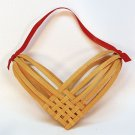 Vintage woven reed heart decoration ornament handmade 7 inch