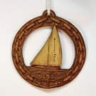 Vintage pressed wood sailboat Rockport Massachusetts Christmas ornament nautical