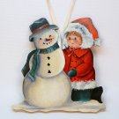 Girl with snowman hand painted flat wooden Christmas ornament