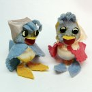 2 vintage felt birds w kerchiefs figurines satin ball pom pom pipe cleaners