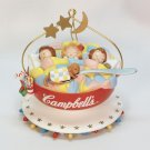 Campbell's Soup ornament kids sleeping in a soup bowl 1993 dog teddy bear spoon
