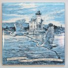 Ceramic Wall Tile or Trivet Rondout Lighthouse egrets Kingston NY
